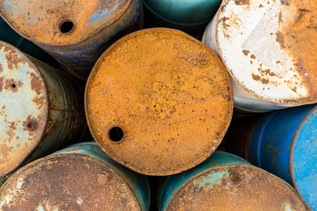 chemical hazard: old tanks containing hazardous chemicals view from the top Stock Photo