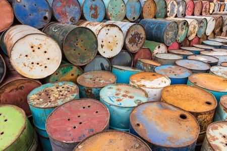 hazardous: old tanks containing hazardous chemicals Stock Photo