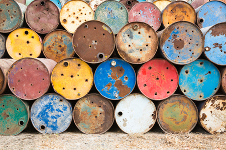 toxic substance: old tanks containing hazardous chemicals Stock Photo