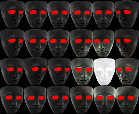 goodness: The white mask is surrounded by many black masks with red eyes but also provides brightness around the sides, concept of goodness continues to endure and illumine in the midst of bad situations