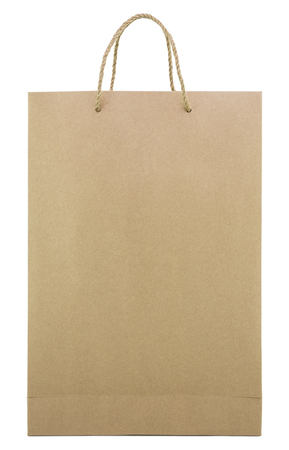 brown shopping bag with handles isolated on white background Stock Photo