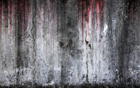 피 묻은 배경 무서운 오래 된 시멘트 벽, 공포와 할로윈의 개념