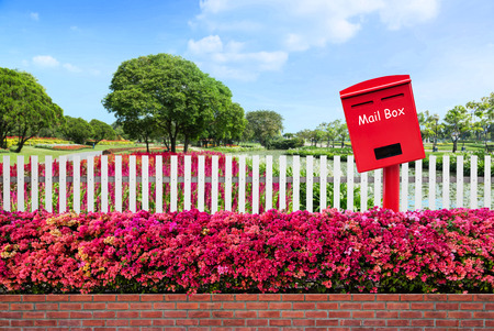 Red mail box located between old fence wood and varicoloured bougainvillea paper flowers with public park as background