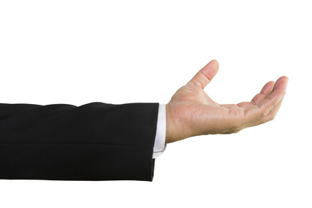 Businessman hand to hold something isolated on white background