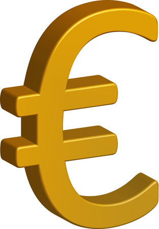 Golden euro sign isolated on white background