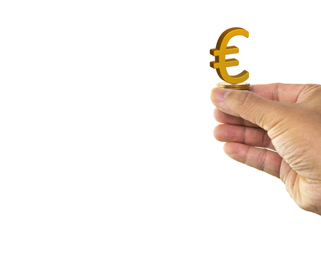 Man hand holding golden euro sign on stack of money coin isolated on white background with clipping path