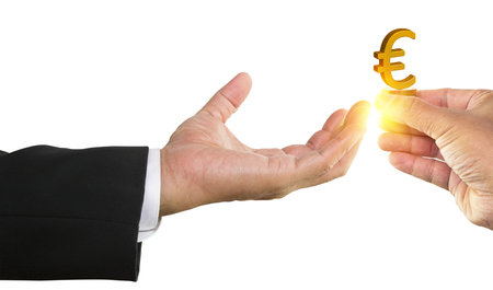 Man hand holding golden euro sign with businessman hand receiving on white background