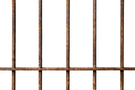 Old prison rusted metal bars cell lock isolated on white background, concept of strengthen and protect Imagens