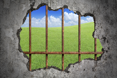 Broken old grunge wall and old prison rusted metal bars with green lawn with cloud and blue sky as background, concept of lack of freedom Imagens