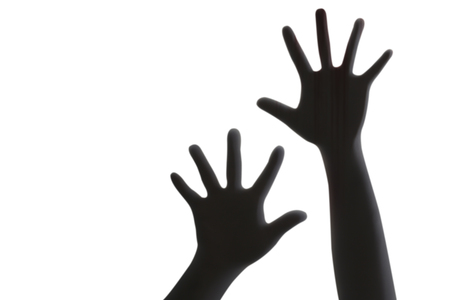 Silhouette of hands isolated on white background Imagens