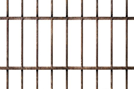 Old prison rusted metal bars cell lock isolated on white background