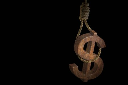 Rusty dollar sign hanging rope noose on black background Imagens