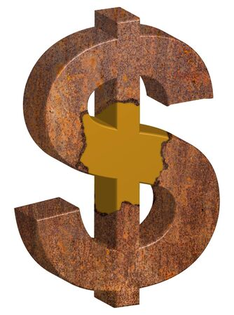 3D illustration of gold dollar sign is covered with rust wrapped isolated on white background, concept of finance risk