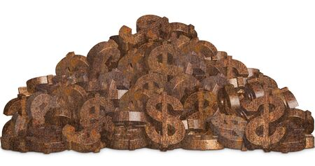 Pile of rusty dollar sign on white background Imagens