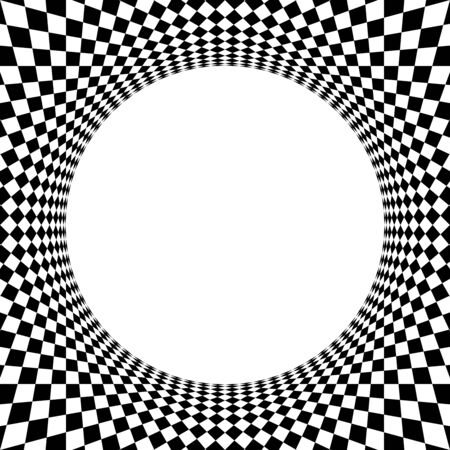 Abstract checkered circle element, radiating lines abstract circular illustration in square format
