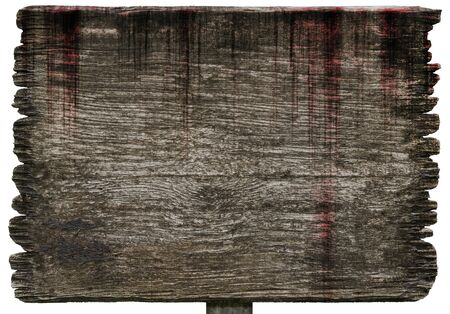 Bloody background scary old wood planks sign textures isolated on white background, concept of horror and spooky