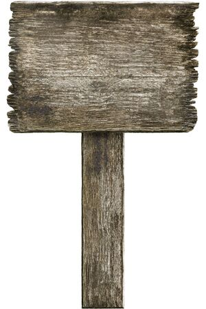 Grunge wooden sign isolated on white Stock Photo