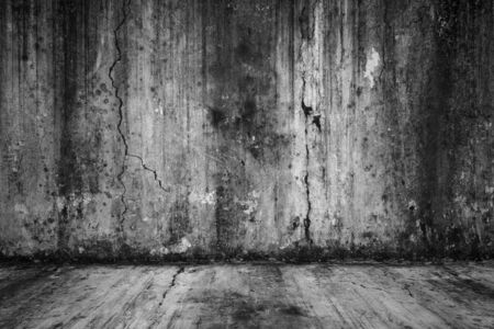Old empty grunge room with concrete wall, black and white interior background