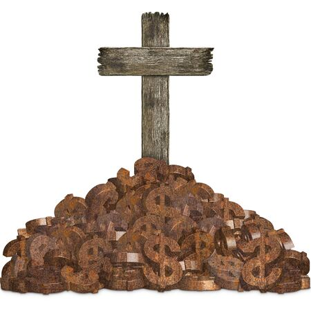 Pile of rusty dollar sign with old grunge wooden cemetery cross on white background, concept of investment risk and business trap Stock Photo
