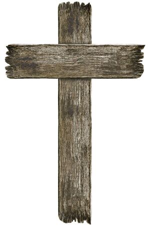 Scary old grunge wooden cemetery cross isolated on white background Imagens - 127913144