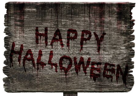 Write a Happy Halloween message on Bloody background scary old grunge wood planks on white background, concept of Halloween and horror crime Stock Photo