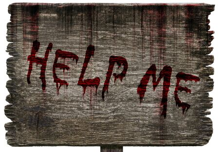 Write a help me message on bloody background scary old grunge wood planks on white background, concept of Halloween and horror crime Imagens - 127913149