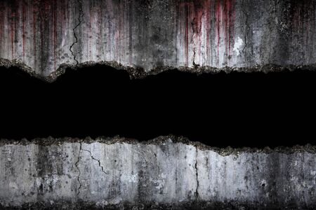 Bloody background scary on damaged grungy crack and broken concrete wall, concept of Halloween and horror