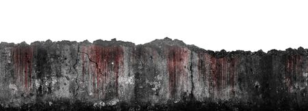 Bloody scary on damaged grungy crack and broken concrete wall isolated on white background, concept of horror and Halloween Stock Photo