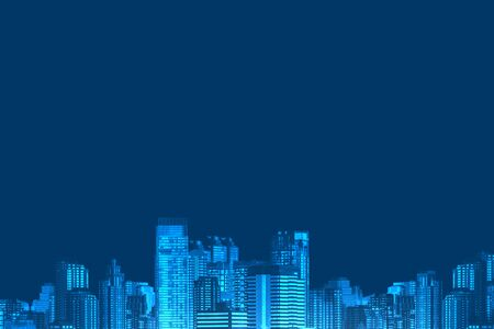 Cityscapes on blue background
