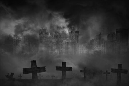 Scary background cemetery cross and abandoned large cities are covered with smoke from the civil war, concept of horror and war Stock Photo