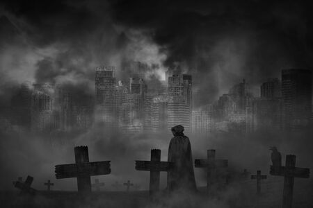 Scary background cemetery cross and the vampire with crow and abandoned large cities are covered with smoke from the civil war, concept of horror and war
