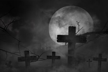 Scary background cemetery cross with dark silhouette in large moon and abandoned large cities, concept of horror and Halloween