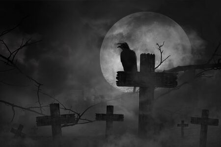Scary background the black crow perched on cemetery cross in fog dark and light with dark silhouette in large moon and abandoned large cities, concept of horror and Halloween Stock Photo