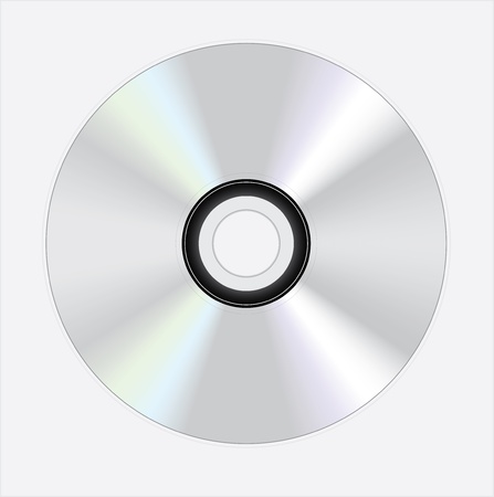 shiny silver disc on white background