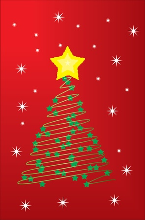 christmas tree with star and snowflakes on red background Illustration