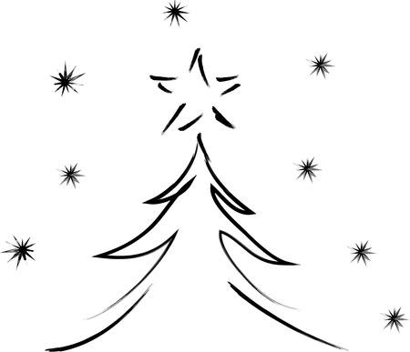 christmas tree with star and snowflakes on white background