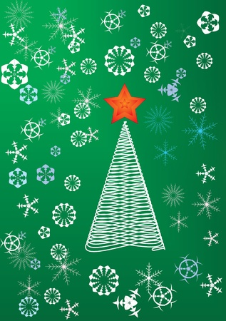 christmas tree with star and snowflakes on green background