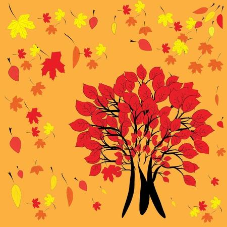 tree with orange leafs isolated on orange background Illustration