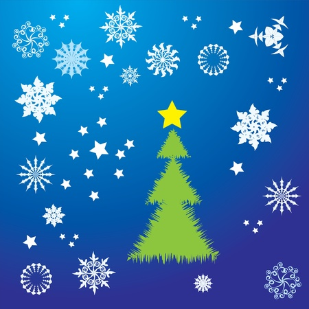 christmas tree with stars and snowflakes on blue background Illustration