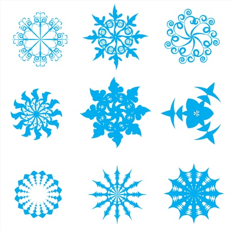 blue christmas snowflakes isolated on white background