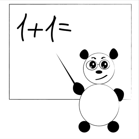 serios panda teaching a lesson on white background