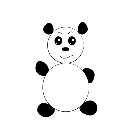 cute little panda isolated on white background