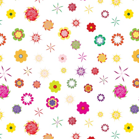 color floral seamless pattern on white background Illustration