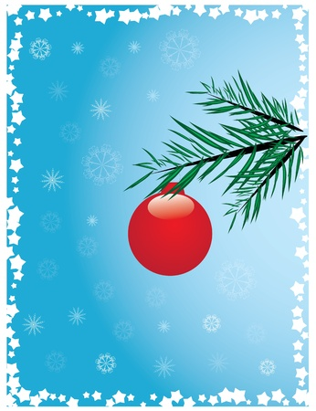 christmas ball hanging with snowflakes on blue background