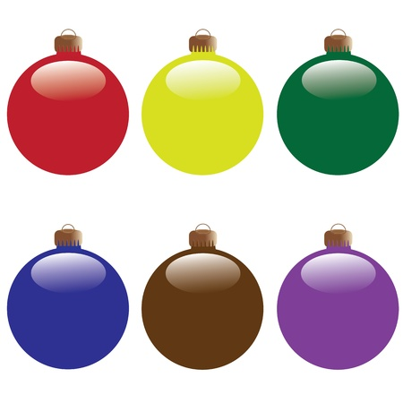 decoraton: colored christmas shiny balls isolated on background Illustration
