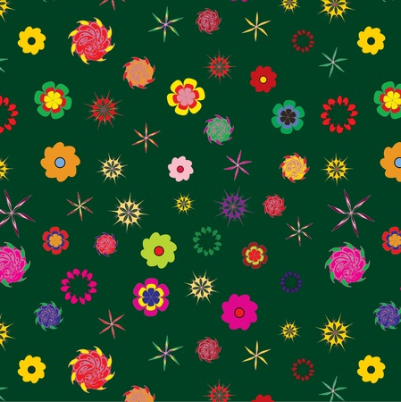 color floral seamless pattern on deep olive background