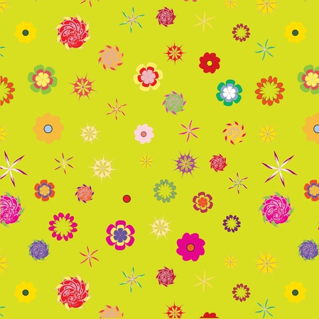 color floral seamless pattern on green background