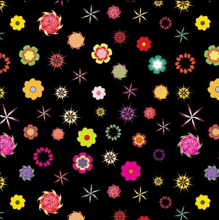 color floral seamless pattern on black background Illustration