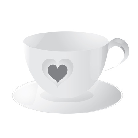 cup with heart isolated on white background