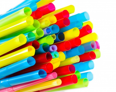Multiple size of colorful straws on the white background